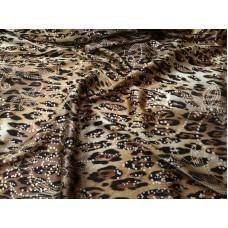 Шелк леопард с золотыми цветами